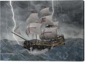 Tableau sur toile 3D galion de bateau de navigation dans les mers orageuses