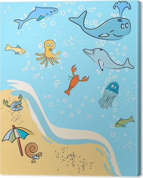 tableau sur toile la plage marine animals vector clip art pixers nous vivons pour. Black Bedroom Furniture Sets. Home Design Ideas