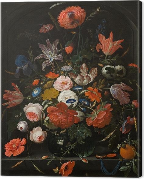 Tableau sur toile Abraham Mignon - Flowers in a Glass Vase - Reproductions