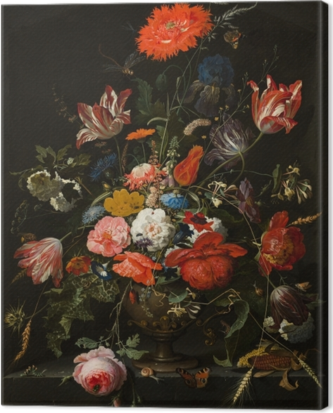 Tableau sur toile Abraham Mignon - Flowers in a Metal Vase - Reproductions