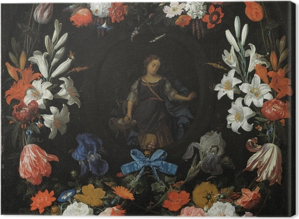 Tableau sur toile Abraham Mignon - Garland of Flowers - Reproductions