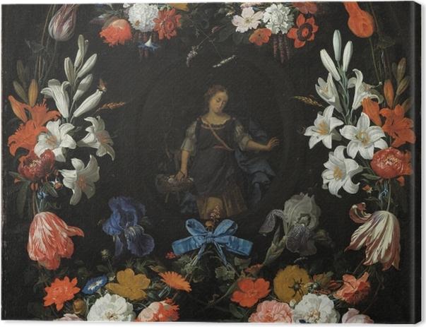 Tableau sur toile Abraham Mignon - Garland of Flowers - Reproductions