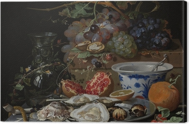 Tableau sur toile Abraham Mignon - Still Life with Flowers, Oysters and a Porcelain Bow - Reproductions