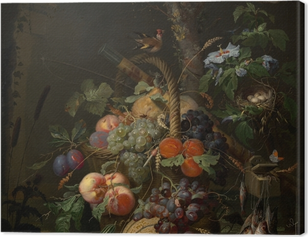 Tableau sur toile Abraham Mignon - Still Life with Fruit, Fish and a Nest - Abraham Mignon