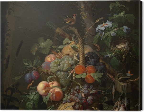 Tableau sur toile Abraham Mignon - Still Life with Fruit, Fish and a Nest - Abraham Mignon