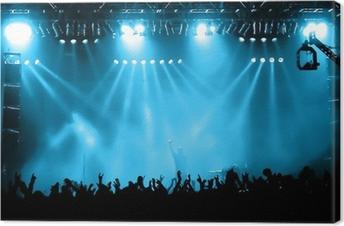 Tableau sur toile Acclamations de la foule lors du concert, les musiciens sur la scène