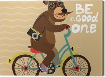 Tableau sur toile Affiche Hipster avec un ours de geek