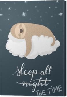 Tableau sur toile Affiche paresseux endormi