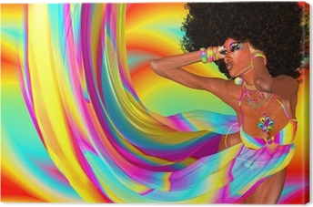 Tableau sur toile Afro Coiffure, Sexy Girl, Disco