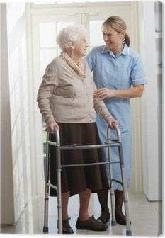 Tableau sur toile Aider les soignants femme âgée senior Utilisation déambulateur