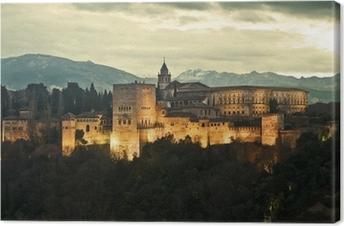 Tableau sur toile Alhambra Palace au crépuscule