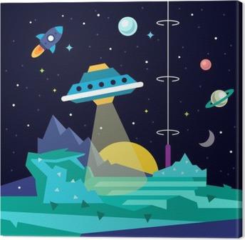 Tableau sur toile Alien espace planète paysage avec ufo