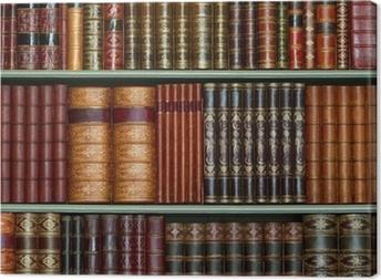 Tableau sur toile Ancienne bibliothèque de livres d'époque à couverture rigide sur les tablettes