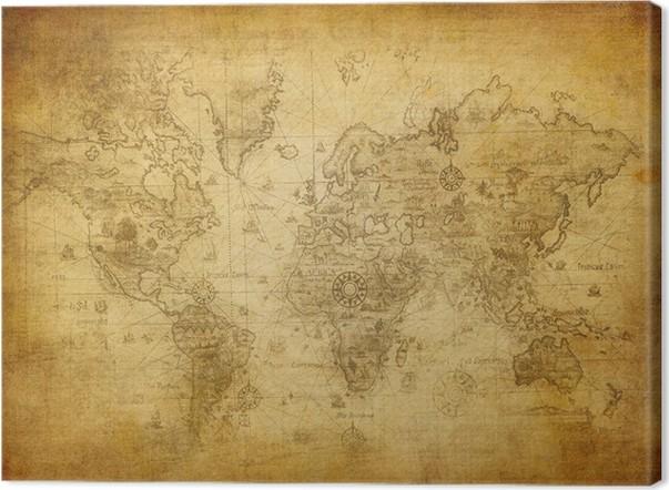 tableau sur toile ancienne carte du monde pixers nous vivons pour changer. Black Bedroom Furniture Sets. Home Design Ideas