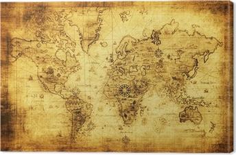 Tableau sur toile Ancienne carte du monde.