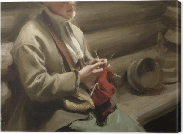 Tableau sur toile Anders Zorn - Fille de Dalecarlia au tricot - Reproductions