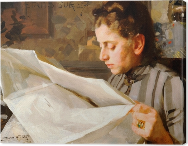 Tableau sur toile Anders Zorn - Lectrice - Reproductions