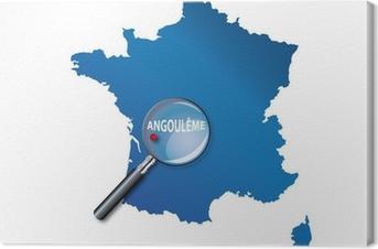 Tableau sur toile Angoulême: Carte de France - département Charente