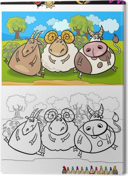 Coloriage Ferme Sans Animaux.Tableau Sur Toile Animaux De La Ferme De Bande Dessinee Coloriage