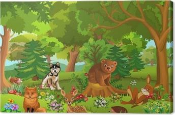 Tableau sur toile Animaux mignons vivant dans la forêt