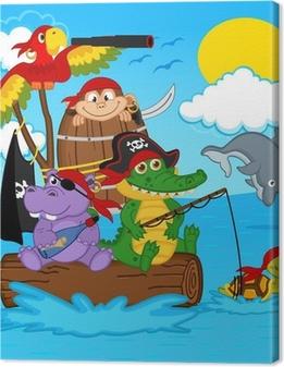 Tableau sur toile Animaux pirates - illustration vectorielle, eps