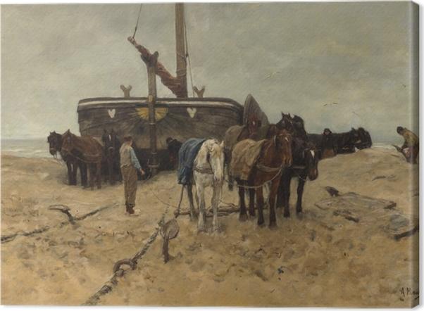 Tableau sur toile Anton Mauve - Bateau de pêche sur la plage - Reproductions
