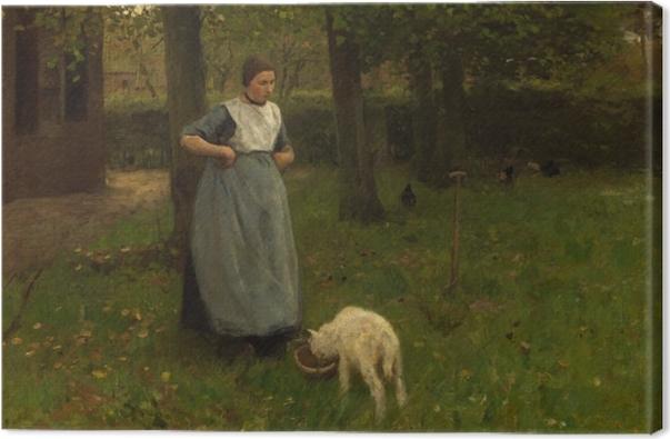 Tableau sur toile Anton Mauve - Femme de Laren avec Agneau - Reproductions