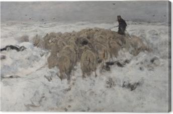 Tableau sur toile Anton Mauve - Troupeau de moutons avec berger dans la neige
