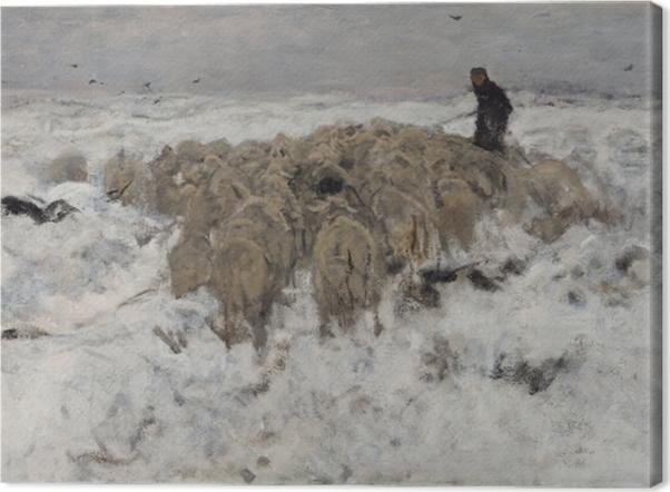 Tableau sur toile Anton Mauve - Troupeau de moutons avec berger dans la neige - Reproductions