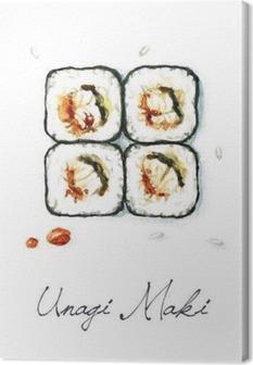 Tableau sur toile Aquarelle Alimentation - Unagi Maki