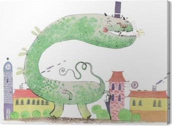 Tableau sur toile Aquarelle de dragon