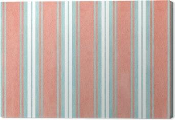 Tableau sur toile Aquarelle fond rayé bleu et rose.