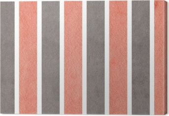 Tableau sur toile Aquarelle fond rayé rose et gris.