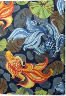 Tableau sur toile Aquarelle goldfishes asiatique