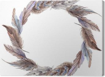 Tableau sur toile Aquarelle gris brun plume gris couronne isolé
