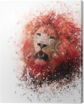 Tableau sur Toile Aquarelle Lion Head