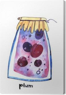 Tableau sur toile Aquarelle prune jem