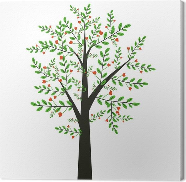 Tableau sur toile Arbre décoratif avec des feuilles et des fleurs on