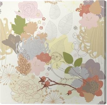 Tableau sur Toile Arrière-plan transparent avec ornement botanique abstraite
