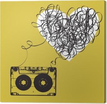 Tableau sur toile Audiocassette avec du ruban emmêlés. forme Haert