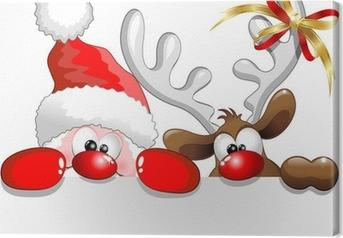 Tableau sur toile Babbo Natale e-Renna Père Noël et Renne Contexte