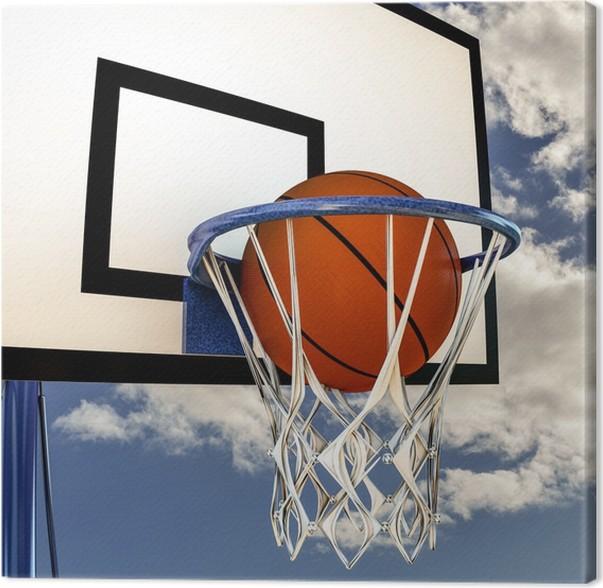 037590878131e Tableau sur Toile Balle qui rebondit sur un panneau de basket-ball ...