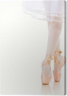 Tableau sur toile Ballerina Legs gros plan. Ballet Shoes. Pointe.