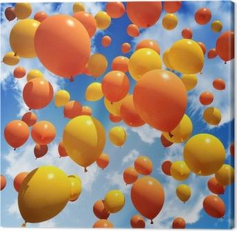 Tableau sur toile Balloon est libéré dans le ciel