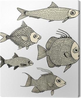 Tableau sur toile Banc de poissons