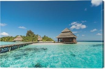 Tableau sur toile Beach Villas sur la petite île tropicale