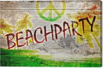 Tableau sur toile Beachparty graffiti auf altem Holzbrett