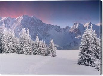 Tableau sur toile Beau paysage d'hiver dans les montagnes. Lever du soleil