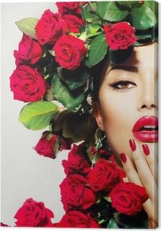Tableau sur toile Beauté Mannequin Portrait Girl avec Red Roses Coiffure