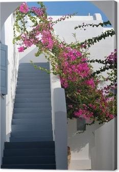 Tableau sur toile Beaux escaliers et de bougainvilliers en Grèce
